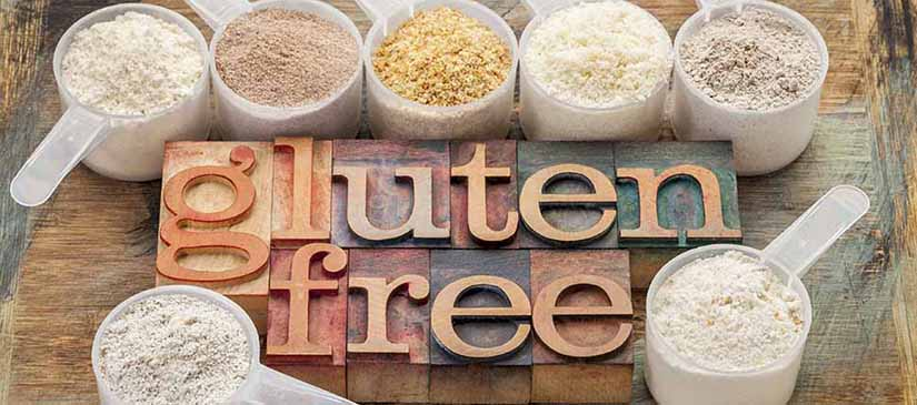 gluteen free wood board with flours