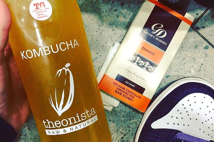 Kombucha tea organic chocolate and a shoe flu